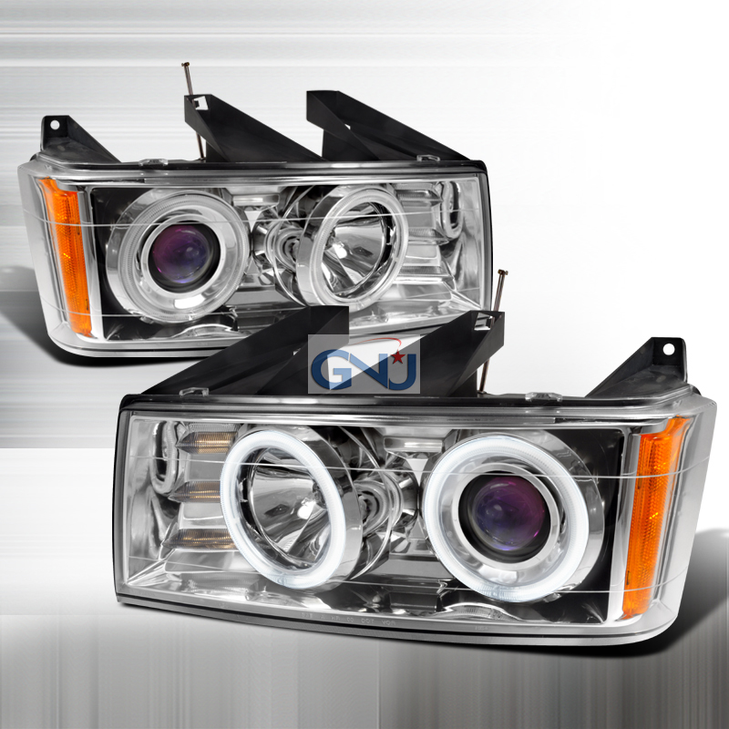 Chevrolet Colorado 2004-2006 CCFL Halo  Projector Headlights - Chrome