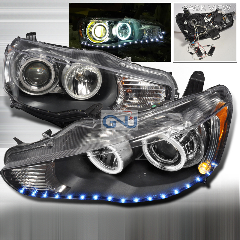 Mitsubishi Lancer 2008-2010 Dual CCFL Halo LED  Projector Headlights - Black