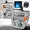 2009 Ford Super Duty   Chrome Ccfl Halo Projector Headlights