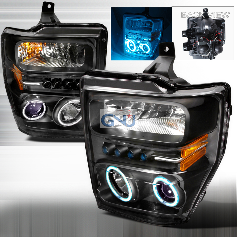 Ford Super Duty 2008-2010 CCFL Halo  Projector Headlights - Chrome