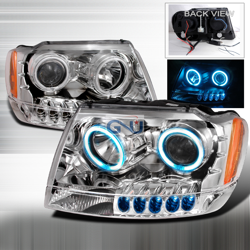 Jeep Grand Cherokee  1999-2004 Chrome Ccfl Halo Projector Headlights