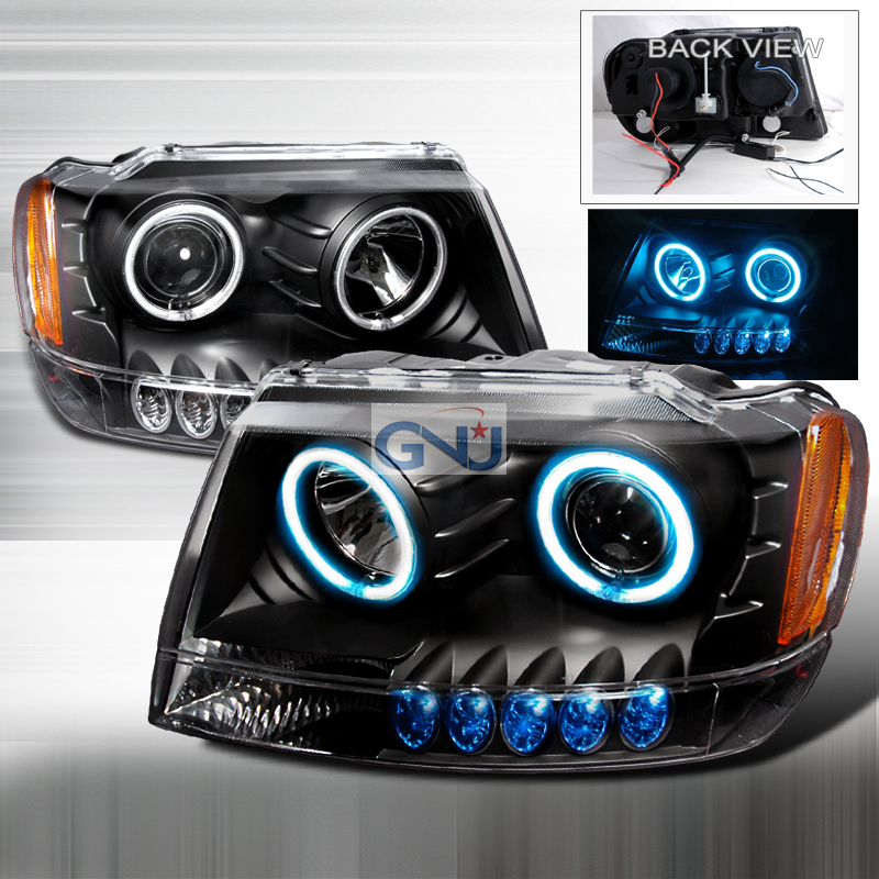 Jeep Grand Cherokee  1999-2004 Black Ccfl Halo Projector Headlights