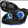 2007 Volkswagen Golf   Black Ccfl Halo Projector Headlights Blue Ion