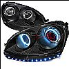 2008 Volkswagen Golf   Black Ccfl Halo Projector Headlights Red Ion