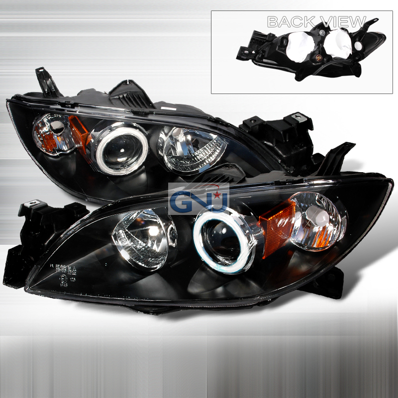 Mazda Mazda 3  2004-2006 Black Ccfl Halo Projector Headlights