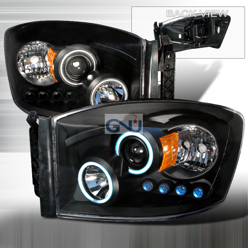 Dodge Ram  2006-2008 Black Ccfl Halo Projector Headlights