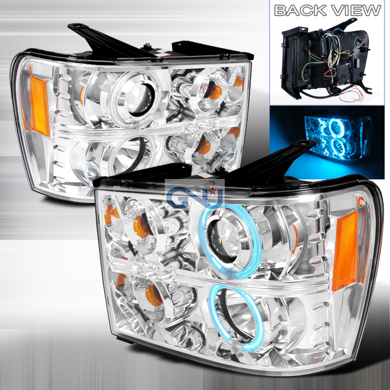 Gmc Sierra  2007-2008 Chrome Ccfl Halo Projector Headlights