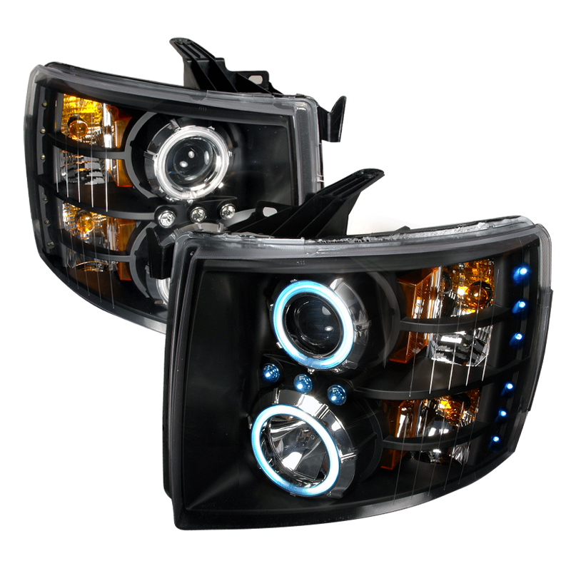 Chevrolet Silverado  2007-2010 Black Ccfl Halo Projector Headlights