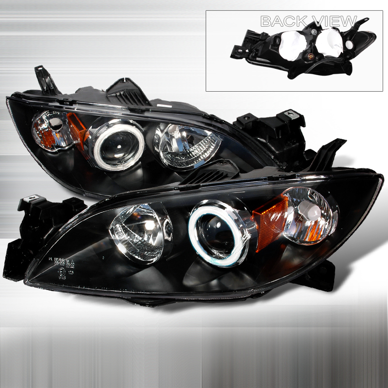 Mazda 3 2004-2007 Black Projector Headlights w/ Halo
