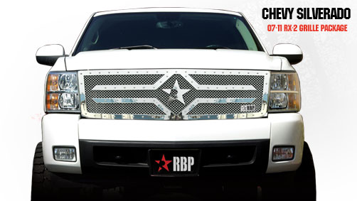Chevrolet Silverado 1500 2007-2011 - Rbp Rx-2 Series Studded Frame Main Grille Chrome 1pc