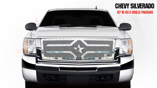 Chevrolet Silverado 2500hd/3500hd 2007-2010 - Rbp Rx-2 Series Studded Frame Main Grille Chrome 1pc