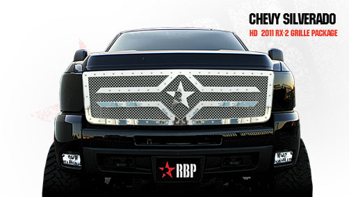 Chevrolet Silverado 2500hd/3500hd 2011-2012 - Rbp Rx-2 Series Studded Frame Main Grille Chrome 1pc