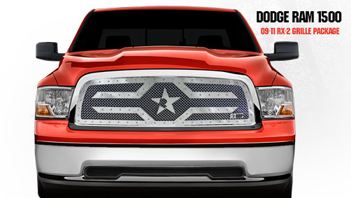 Dodge Ram 1500 2009-2011 - Rbp Rx-2 Series Studded Frame Main Grille Chrome 1pc