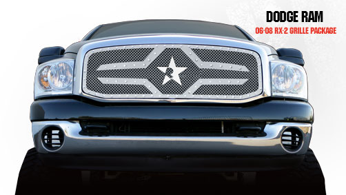 Dodge Ram 1500/2500/3500 2006-2008 - Rbp Rx-2 Series Studded Frame Main Grille Chrome 1pc