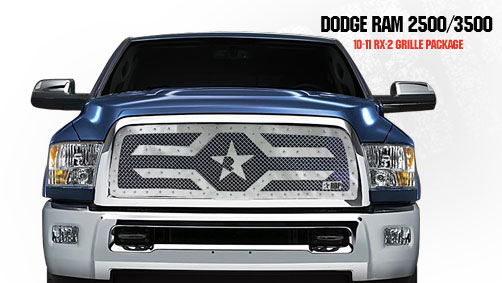 Dodge Ram 2500/3500 2010-2011 - Rbp Rx-2 Series Studded Frame Main Grille Chrome 1pc