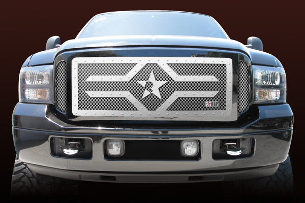 Ford Super Duty (except Harley Edition) 2005-2007 - Rbp Rx-2 Series Studded Frame Main Grille Chrome 3pc