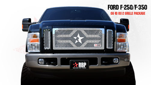 Ford Super Duty (except Harley Edition) 2008-2010 - Rbp Rx-2 Series Studded Frame Main Grille Chrome 3pc