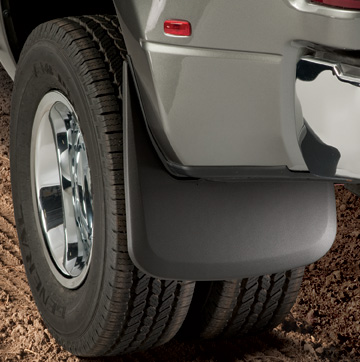 Dodge Ram 3500, 2010-2010 Husky Custom Molded Rear Mud Guards Rear Dually Models Without Fender Flares