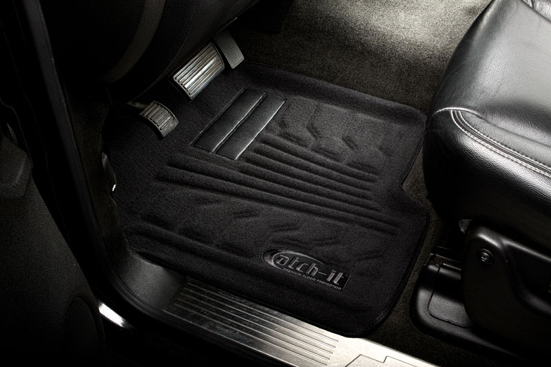 Chevrolet Silverado 2007-2010 Crew Cab Nifty  Catch-It Carpet Floormats -  Front - Black