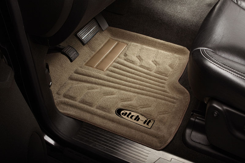 Chevrolet Silverado 2007-2010 Crew Cab Nifty  Catch-It Carpet Floormats -  Front - Tan