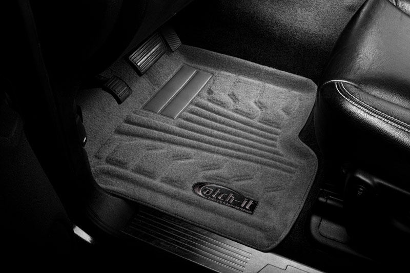 Ford F150 2009-2010 Super Crew Nifty  Catch-It Carpet Floormats -  Front - Grey