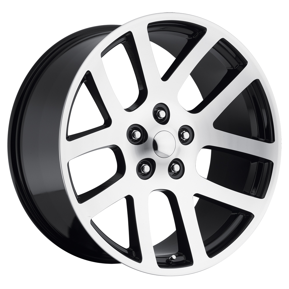 Dodge Ram 1998-2010 22x10 5x5.5 +25.4 - SRT10 Replica Wheel -  Black Machine Face With Cap