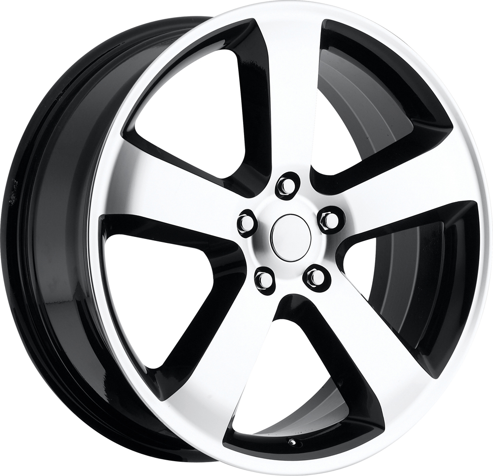 Dodge Charger 2006-2010 20x8 5x115 +45 - SRT8 Replica Wheel - (awd Charger) - Black Machine Face With Cap 