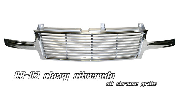 Chevrolet Silverado 1999-2002  Billet Style Chrome Front Grill
