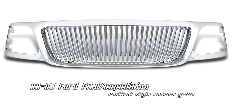 Ford Expedition 1999-2002  Vertical Style Chrome Front Grill