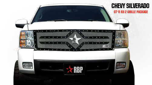 Chevrolet Silverado 1500 2007-2011 - Rbp Rx-2 Series Studded Frame Main Grille Black 1pc