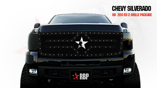 Chevrolet Silverado 2500hd/3500hd 2011-2012 - Rbp Rx-2 Series Studded Frame Main Grille Black 1pc