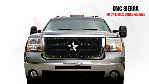 Gmc Sierra 2500hd, 3500 2007-2010 - Rbp Rx-2 Series Studded Frame Main Grille Black