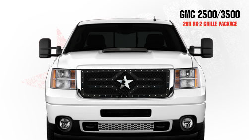 Gmc Sierra 2500hd, 3500 (except Denali) 2011-2012 - Rbp Rx-2 Series Studded Frame Main Grille Black