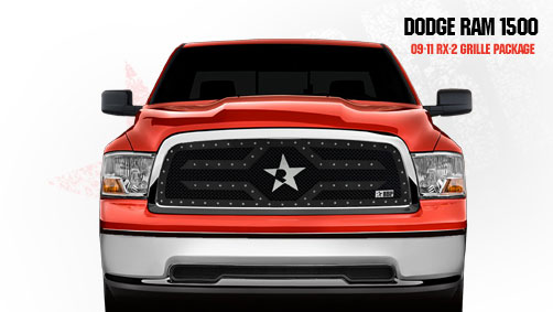 Dodge Ram 1500 2009-2011 - Rbp Rx-2 Series Studded Frame Main Grille Black 1pc