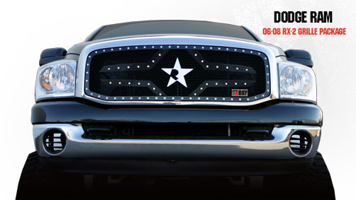 Dodge Ram 1500/2500/3500 2006-2008 - Rbp Rx-2 Series Studded Frame Main Grille Black 1pc