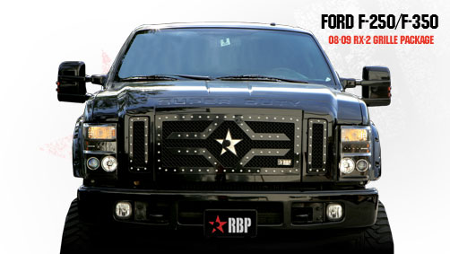 Ford Super Duty (except Harley Edition) 2008-2010 - Rbp Rx-2 Series Studded Frame Main Grille Black 3pc