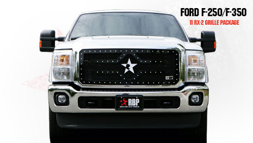Ford Super Duty (except Harley Edition) 2011-2012 - Rbp Rx-2 Series Studded Frame Main Grille Black 1pc