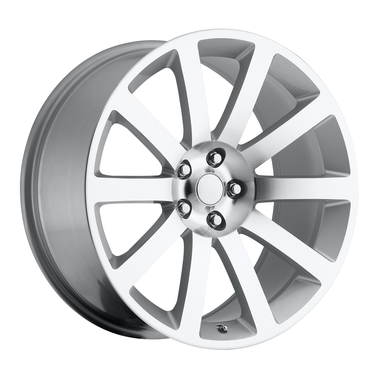 Chrysler 300C 2005-2010 22x9 5x115 +18 - SRT8 Style Wheel - Silver Machine Face With Cap