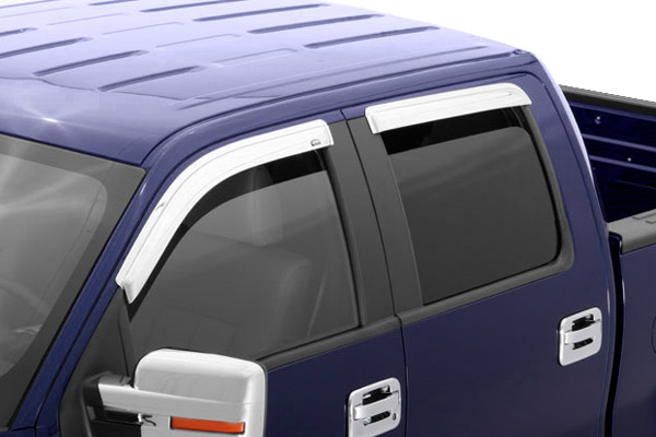 Chevrolet Silverado Crew Cab 2007-2012 Chrome Ventvisor Front & Rear Window Deflectors
