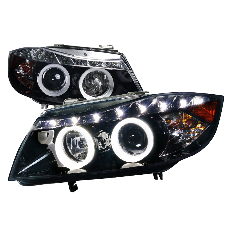 Bmw 3-Series E90 4 Door 2005-2008 Gloss Black Iced Halo Projector Headlights Smoke Lens W/LED'S