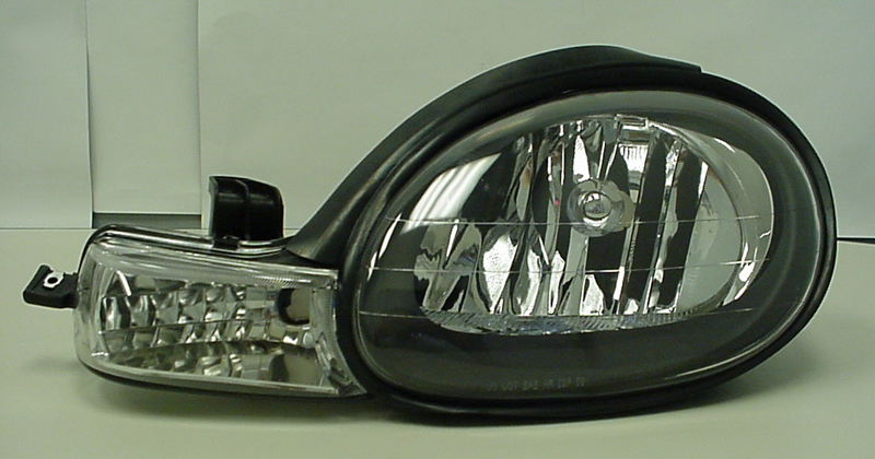 Dodge Neon 2000-2002 Black Headlights (Diamond Back)