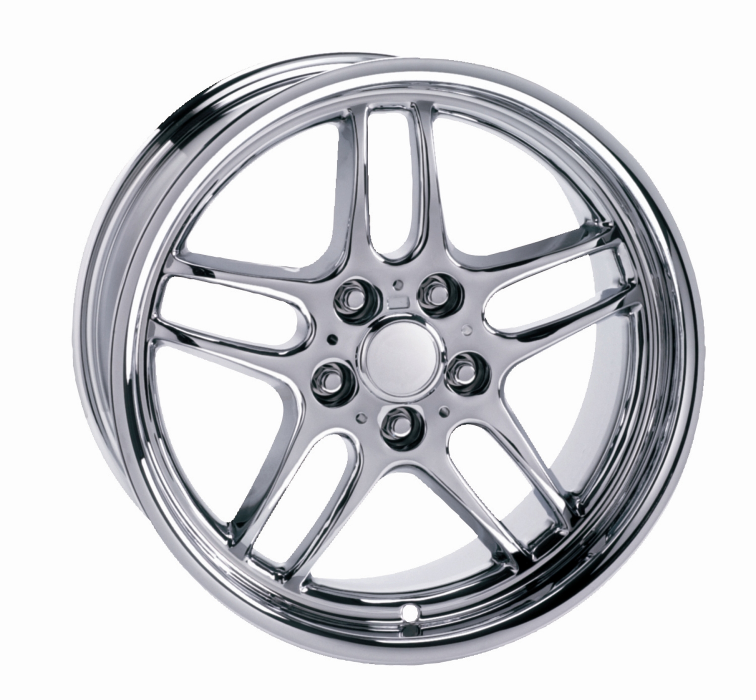 Bmw 5 Series 1988-2010 18x9.5 5x120 +25 - Parallel Spoke Wheel - Chrome With Cap