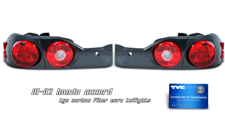 Honda Accord 2001-2002 4d Chrome Euro Tail Lights