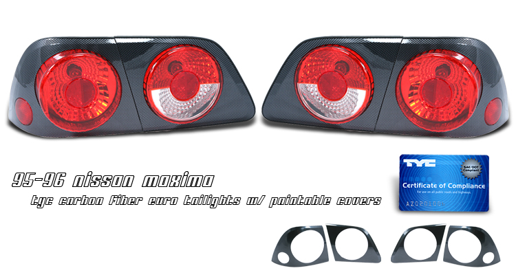 Nissan Maxima 1995-1996  Chrome Euro Tail Lights