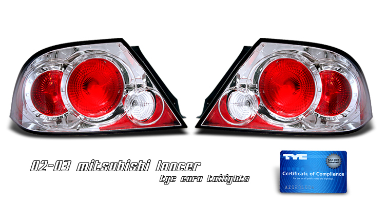 Mitsubishi Lancer 2002-2003  Chrome Euro Tail Lights
