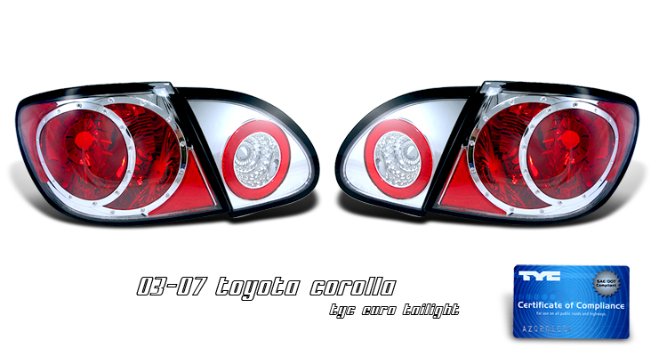 Toyota Corolla 2003-2007  Chrome Euro Tail Lights