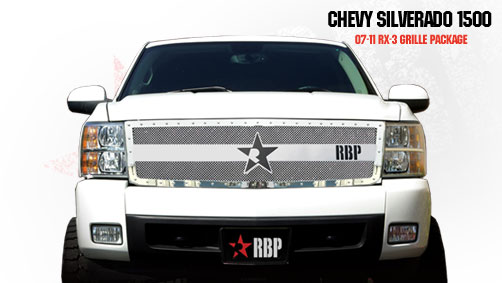 Chevrolet Silverado 1500 2007-2011 - Rbp Rx-3 Series Studded Frame Main Grille Chrome 1pc