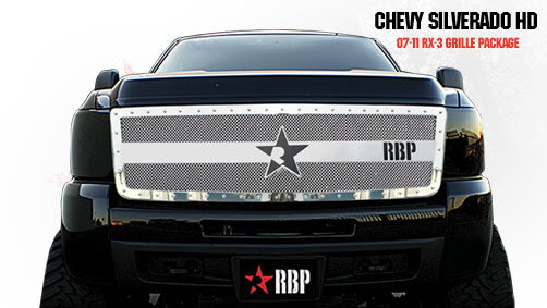 Chevrolet Silverado 2500hd/3500hd 2007-2010 - Rbp Rx-3 Series Studded Frame Main Grille Chrome 1pc