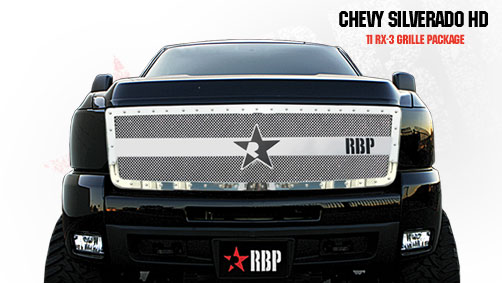 Chevrolet Silverado 2500hd/3500hd 2011-2012 - Rbp Rx-3 Series Studded Frame Main Grille Chrome 1pc