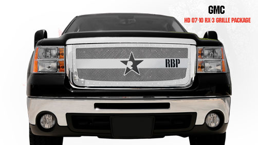 Gmc Sierra 2500hd, 3500 2007-2010 - Rbp Rx-3 Series Studded Frame Main Grille Chrome